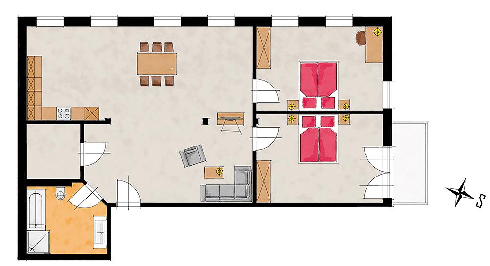Grundriss der Ferienwohnung Watzmann bei Berchtesgaden bei Hans Angerer - barrierefrei